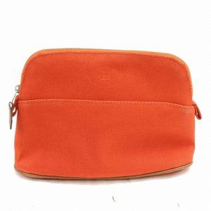 Auth Hermes Cosmetic Pouch Canvas Orange #3264H67